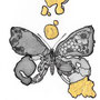 -Title: Nijimi Butterfly -Size: H84xW59 -Material: Pigment ink, Gold foil, Dye ink on Illustration board