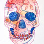 -Title: Colorful Skull -Size: H120xW83 -Material: pigment ink, Acrylic gouache on Illustration board