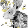 -Title: Nijimi Rabbit -Size: H420xW297 -Material: Pigment ink, Brass foil, Japanese ink on Illustration board