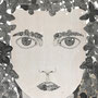-Title: A girl -Size: H1167xW910 -Material: Pigment ink, Silver foil, Japanese ink on Wood panel