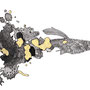 -Title: Nijimi Guppy -Size: H128xW179 -Material: Pigment ink, Gold foil, Dye ink on Illustration board