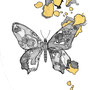 -Title: Nijimi Butterfly -Size: H175xW125(oval) -Material: Pigment ink, Gold foil, Dye ink on Illustration board