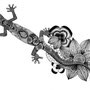 -Title: Gecko -Size: H210xW297 -Material: pigment ink on Illustration board