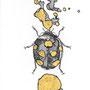 -Title: Nijimi Ladybug -Size: H84xW59 -Material: Pigment ink, Gold foil, Dye ink on Illustration board