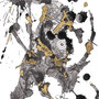 -Title: Nijimi Bee -Size: H297xW210 -Material: Pigment ink, Brass foil, Japanese ink on Illustration board