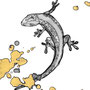 -Title: Nijimi Gecko -Size: H149xW105 -Material: Pigment ink, Gold foil, Dye ink on Illustration board
