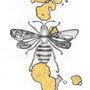 -Title: Nijimi Bee -Size: H84xW59 -Material: Pigment ink, Gold foil, Dye ink on Illustration board
