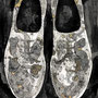 -Title: Nijimi Shoes -Size: H297xW210 -Material: Pigment ink, Brass foil, Japanese ink on Illustration board