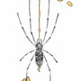 -Title: Nijimi Silk Spider -Size: H150xW102(oval) -Material: Pigment ink, Gold foil, Dye ink on Illustration board