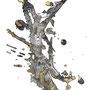 -Title: Nijimi Ladybug -Size: H420xW297 -Material: Pigment ink, Brass foil, Japanese ink on Illustration board