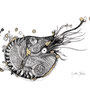 -Title: Nijimi Nautilus -Size: H210xW297 -Material: Pigment ink, Brass foil, Dye ink on Illustration board