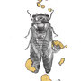 -Title: Nijimi Cicada -Size: H149xW105 -Material: Pigment ink, Gold foil, Dye ink on Illustration board