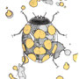 -Title: Nijimi Longicorn beetle -Size: H150xW102(oval) -Material: Pigment ink, Gold foil, Dye ink on Illustration board