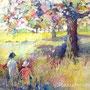 Omenapuut kukkivat jo / batiikkiakvarelli 2014 - myyty