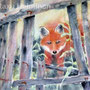 What's up, little fox?  - watercolour  40x50 cm incl PP