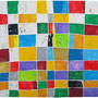 """""""colori a scacchi"""" esercizio con stucco e acrilici su tela cm100x100"""