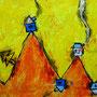"""""""le case di Andrea, Claudia e Francesco"""" acrilico e carboncino su tela cm60x30"""