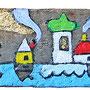 """""""case su pezzo di legno di Mare (e chiodo rosso)"""" acrilico e foglia oro su pezzo di legno cm15x5"""