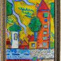 """""""quartiere"""" esercizio di acrilici e acquarelli su cartone in vecchia cornice cm23x30"""