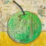 """""""frutto acerbo"""" acrilici e segni a matita su cartone d'imballo rifinito con vernice all'acqua cm20x25"""