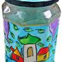 """""""vuoto di sottaceti"""" acrilici su vetro con inserto di vernice oro e tratto a carboncino cm13,5x8"""