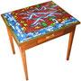 """""""tavolino per entrata"""" acrilico e carboncino con inserti di foglia oro cm75x80 (misure appr.)"""