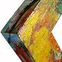 """""""caco su cornicetta"""" acrilico e carboncino su legno - part. cm24x24"""
