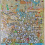 """""""il Villaggio su resti di carta di giornale"""" acrilici e tratto a matita su collage di pezzi di giornale incollati su cartone d'imballo cm36x51"""