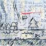 """""""case sull'Argine"""" acrilico su carta e tela (3) cm24x24-""""Nessun bene ha un argine sicuro"""" - don Primo Mazzolari """"La casa sull'argine e l'uomo di nessuno"""""""