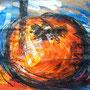 """""""il caco di gioia""""acrilico e carboncino su carta da imballocm28x40 (due tentativi)"""