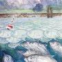 Gute Nacht Lied der Fische, 2016, 66x50 (62x49), Farbstift + Aquarell / Aquarellpapier