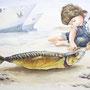 Die Goldmakrele, 2012, 50x66 (49x62), Farbstift + Aquarell / Aquarellpapier
