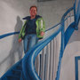 auf der Treppe, 2015, 66x50 (62x49), Farbstift + Aquarell / Aquarellpapier