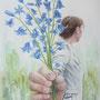 Ackerglockenblumen für mich, 2020, 0 (64x49), Farbstift + Aquarell / Aquarellpapier