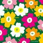 黄色×白×ピンク×背景みどり(北欧風花のイラスト)