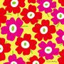 赤×ピンク×背景黄色(北欧風花のイラスト)