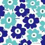 青×水色×背景白(北欧風花のイラスト)