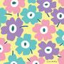 藤色×ピンク×水色×背景クリーム色(北欧風花のイラスト)