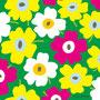 黄×ピンク×白×背景みどり(北欧風花のイラスト)