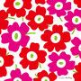赤×ピンク×背景白(北欧風花のイラスト)