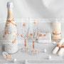 Свадебный набор на заказ, свадебные бокалы для шампанского, бутылка шампанского, семейный очаг, шкатулка для колец.