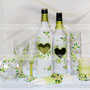 Свадебный набор в наличии. Свадебные бокалы для шампанского, бутылка виски, бутылка мартини, семейный очаг, тарелочка для колец и ваза для свадебного букета.