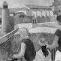 Sur le môle à Collioure - 1957-58 - Hst - 60/92 - ©Adagp Paris 2014