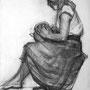 Jeune femme à la cruche - Fusain - circa 1940 - 65 x 50 cm - ©Adagp Paris 2014