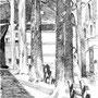 Sur l'allée - Encre de chine - circa 1984 - 41 x 31,5 cm - ©Adagp Paris 2014