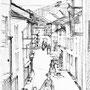Rue en pente, Massat (Ariège) - Encre de chine - 1954 - 37,5 x 27 cm - ©Adagp Paris 2014
