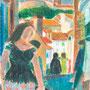 Vue sur le cloitre, Elne (P.O.) - circa 1975 - Pastels à l'huile - 41/32,4 - ©Adagp Paris 2014