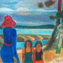 La femme au chapeau rouge (Le Pyla) - circa 1975 - Hst -  50/61 - ©Adagp Paris 2014