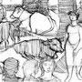 Le marché aux boeufs - Encre de chine - circa 1954 - 20,7 x 32 cm - ©Adagp Paris 2014