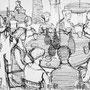 Au café  - Encre de chine - 1957 - 23,5 x 32 cm - ©Adagp Paris 2014